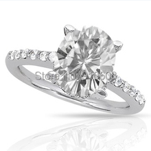 Simple Center 3 Carat Brilliant Oval Cut Simulated Diamond Ring For Women 9K White Gold Engagement Wedding Rings(E-F, VVS1)(China (Mainland))