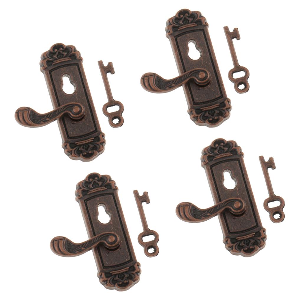 4 Pcs 1:12 Vintage Metal Door Knob Plate Keys Dollhouse Miniature DIY Scene Right Handle w/ Keys Pretend Play Toy