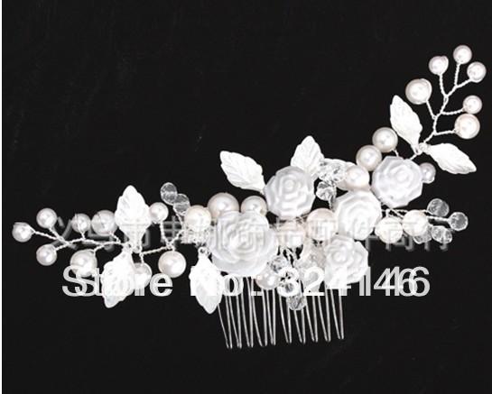 Free shipping 100% guaranteed luxurious white rose flower wedding Hairpins bridal hair  jewelry retail / wholesale