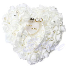 Romantic White Rose Wedding Pillow Favor Heart Shaped Jewelry Gift Ring Box Cushion Wedding Decor(China (Mainland))