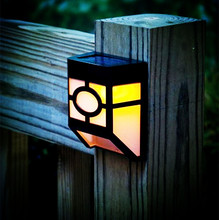 CE Approved Led Wall Lamp Solar powered  Led Path fence lamp Outdoor Lighting Solar Wall light Countryside Fence Patio Lantern(China (Mainland))