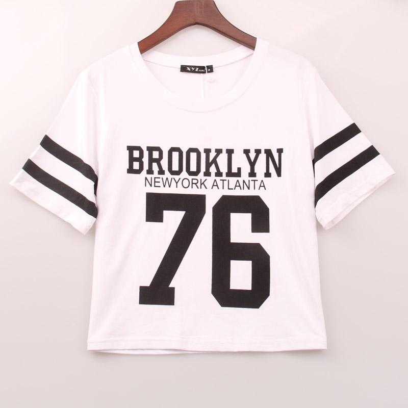 2016 new fashion crop top t shirt women brooklyn 76 for T shirt printing brooklyn