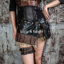 PU Steampunk Waist Bags Packs +Skirt