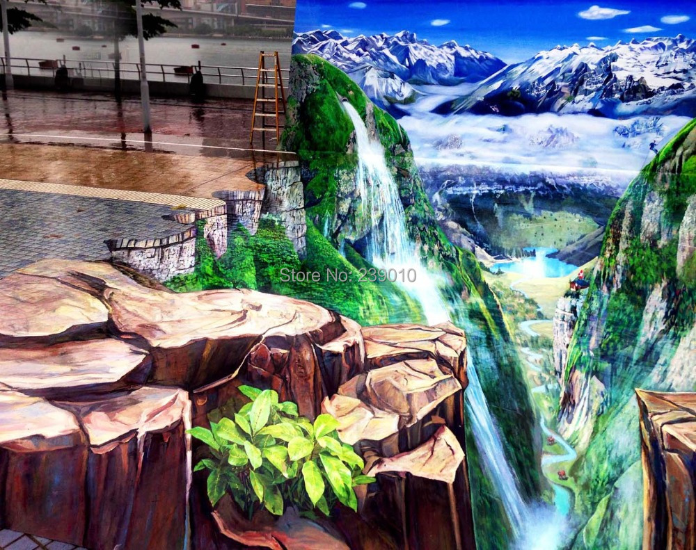 Free shipping 3d landscape oil painting waterfall print for 3d garden decoration