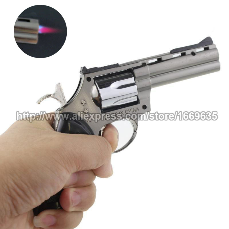 New Windproof Metal Cigarette Cigar Pistol Gun Revolver Shape Refillable Butane Gas Flame Jet Lighter w/ Key chain(China (Mainland))