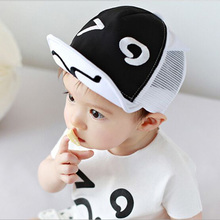 Cartoon Mesh Hats for Baby Cute Black and White Ears Design Baby Cap Newborn Dad Mon boy cap Photography Props 46-50cm HT52048(China (Mainland))
