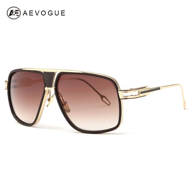 Aevogue очки мужчины винтаж большой кадров выпученными лето стиль марка дизайнер медь рамка солнцезащитные очки с коробкой UV400 AE0336