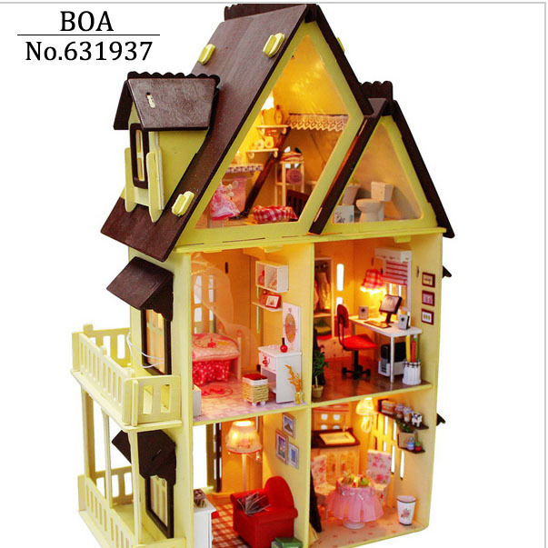 Diy Wooden Doll House With Furniture ,Light Model Building Kits 3D Miniature Dollhouse Puzzle Dolls Toy Gifts-My little House(China (Mainland))