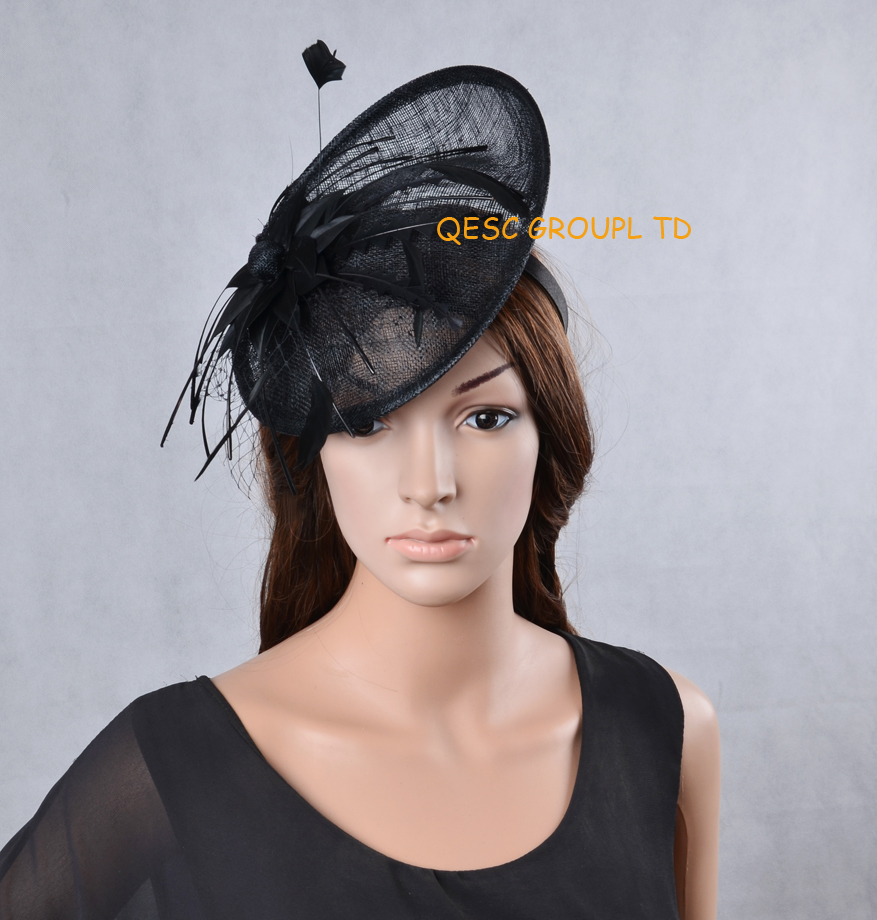 Black Sinamay fascinator hat Derby hat with feather flower for kentucky derby wedding party.(China (Mainland))