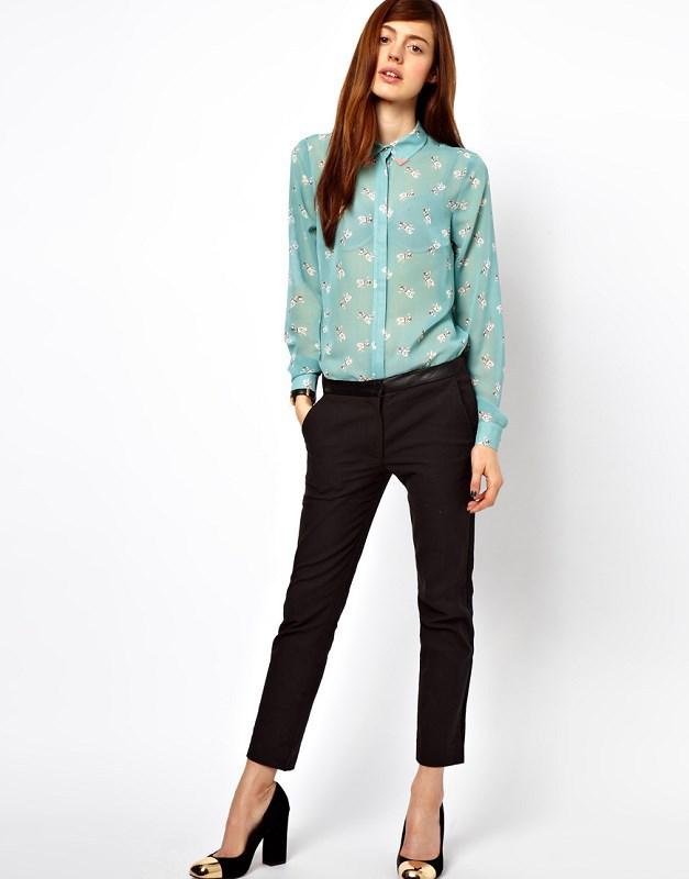 Women Fashion Little Dog Prints Casual Chiffon Blouse Ladies Brand Shirts,SW3047-I03