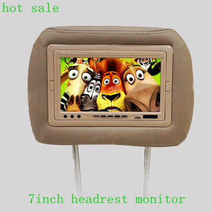 cheap new design 7 inch digital screen with two way AV input car headrest monitor(China (Mainland))