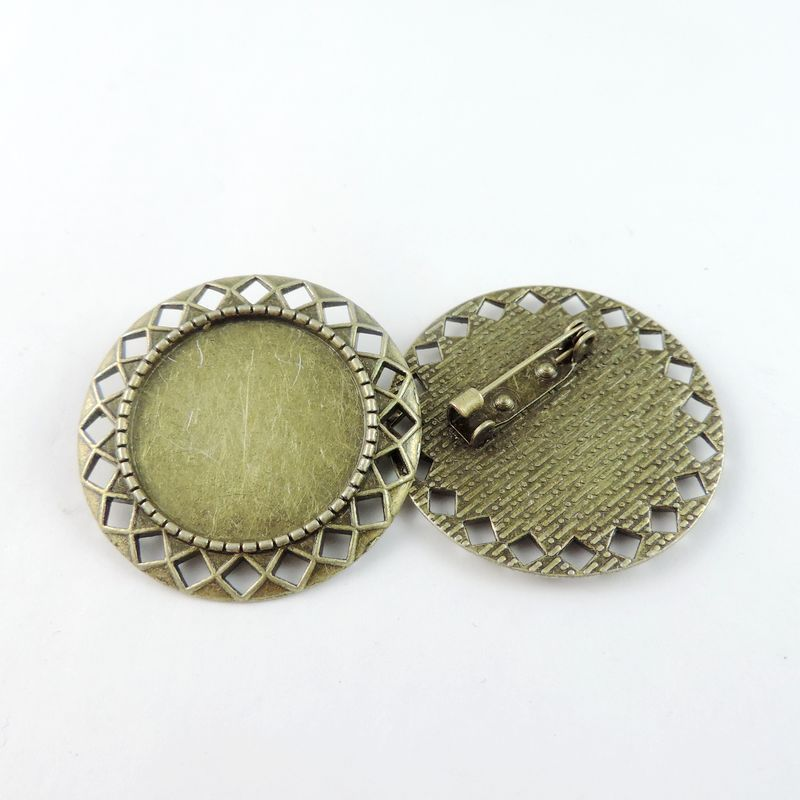 8PCS Antique Bronze Zinc Alloy Round Brooch Base Charm Pendant Jewelry Finding 37*37*6mm 38777(China (Mainland))