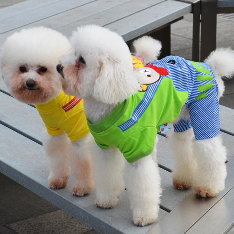 Stripe suspenders dog clothing summer dog clothes teddy bear dog clothes dog clothes(China (Mainland))