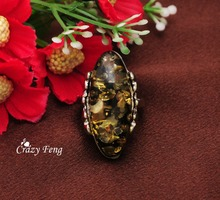 Crazy Feng Top Sale New Vintage Oval Amber Stone Retro Rings for Womens Mens Wholesale Ring Jewelry Free Shipping