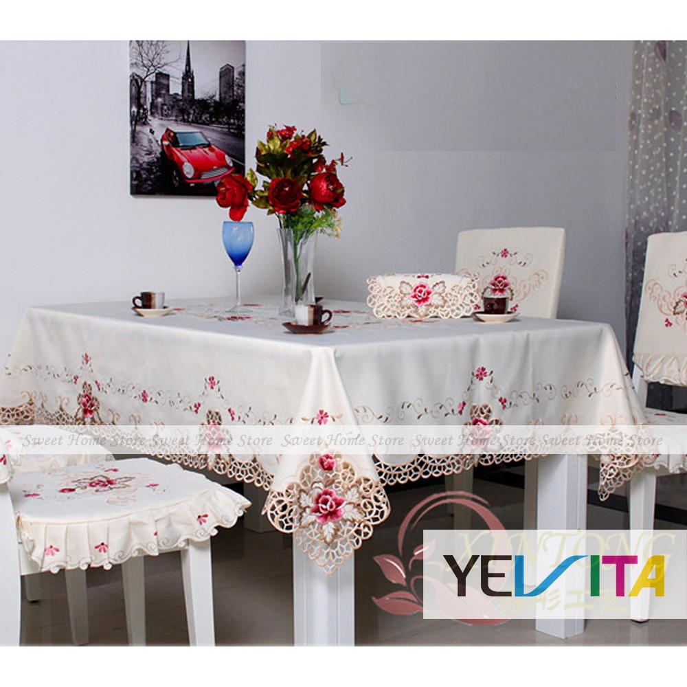 YEVITA Hand Embroidery Rose Cutwork Tablecloth Rectangle Fabric Cover 150x200cm(China (Mainland))