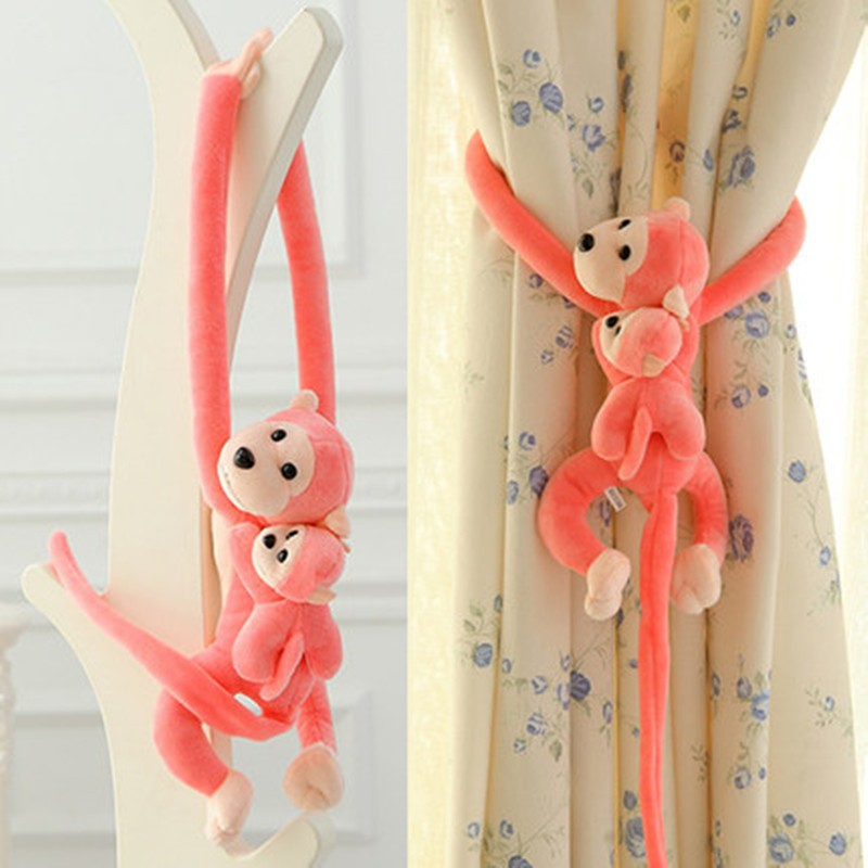 New Arrival Lovely 45cm Son On Mother's Back Long Arm Tail Animal Monkey Stuffed Doll Plush Toys Curtain Buckle(China (Mainland))