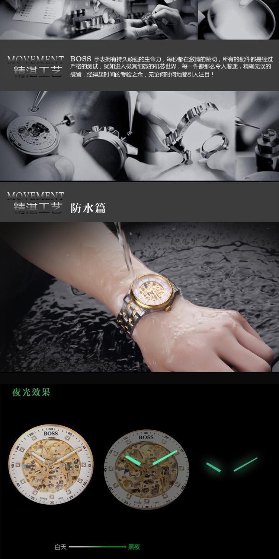 БОСС Германии часы мужчины люксовый бренд ретро скелет hollow алмазный позолоченная автоматические self-wind механические часы из нержавеющей стали