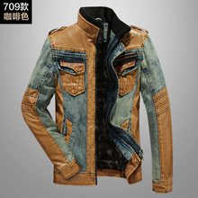 Fashion autumn winter mens faux leather and denim patchwork jacket men stand collar slim leather jackets coats free shipping(China (Mainland))