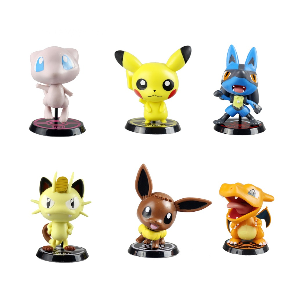 "6pcs Pokemon Go Charizard Meowth Eevee Mew Lucario Pikachu Figure Cute 3"" Christmas Gift for Children PKQ065(China (Mainland))"