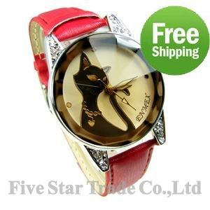 Retail from 1pc Free Shipping Accept Credit Card Best for lady girl Brand New Fashion Design black cat  women watches