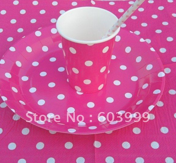 hot pink polka dot partyware supplies packs party