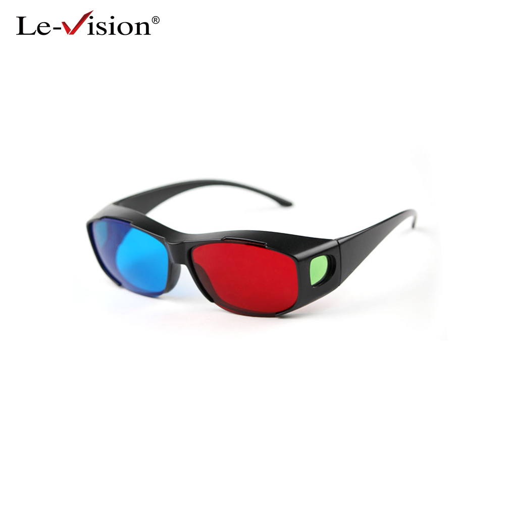 Le-Vision Universal 3D Glasses Red Blue Cyan Black Frame Movie TV/Computer Game DVD Vision/Cinema Anaglyphic 3D Plastic Glasses(China (Mainland))
