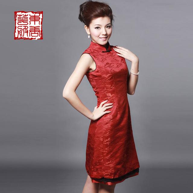 Cheongsam 2013 chinese style slim medium-long design exquisite cheongsam dress