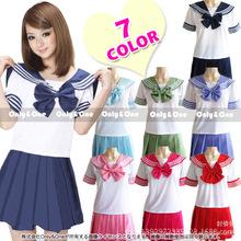 9 couleurs école japonaise uniformes sailor tops + cravate + jupe marine étudiants de style vêtements pour fille , Plus la taille Lala Cheerleader vêtements(China (Mainland))