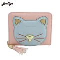 New Design Cute Wallets Card Holder For Woman Patchwork Cartoon Cat Women Wallet With Tassel Pendant