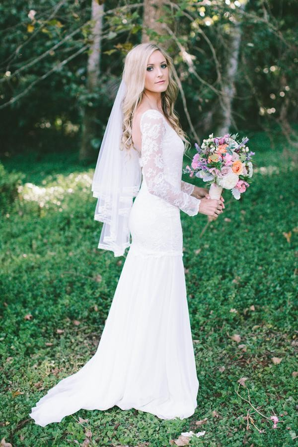 Romantic long sleeves open back beach wedding dresses lace for Garden wedding party dresses