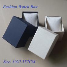 Venta al por mayor de papel caja de reloj nuevo azul y blanco del embalaje caja de regalo caja de tamaño 10 cm * 7.5 cm * 7 cm se puede personalizar LOGO 100