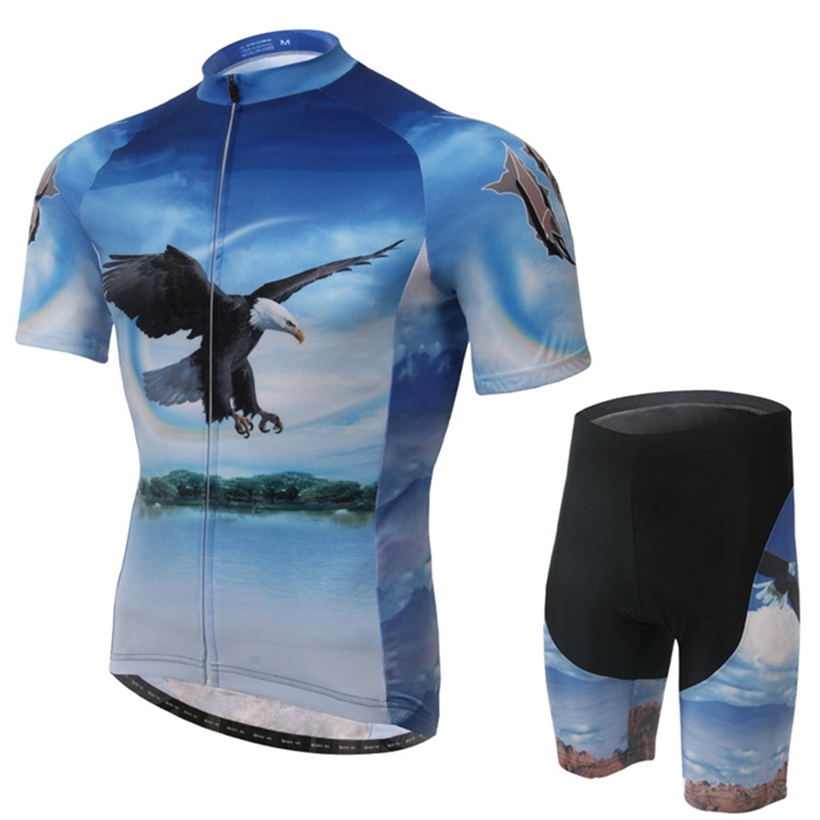 2016 XINTOWN Ropa Ciclismo Bike Men's Team Pink Sleeve Blue Eagle Suit Gel Riding cycling jersey Quick Dry shirt Shorts Wear Set(China (Mainland))