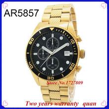 Nuevas adquisiciones mejores Top reloj de la marca AR5857 oro clásico cronógrafo negro Dial de acero inoxidable hombres reloj caja Original 5857