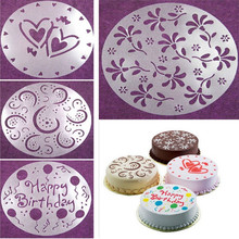 4 Pieces/set Cake Decorating Tools Kitchen Accessories Baking Supplies Cooking Tools PVC Spray Mold Cake Moulds Transfer Mould