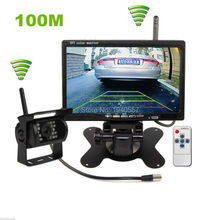 Car Parking Assistance System 100M 2.4 GHz Wireless Rear View Camera + 7 inch TFT LCD Car Monitor Fit for Auto Truck Van Bus