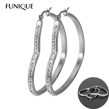 FUNIQUE Womens Heart Large Big Hoops Earrings Stainless Steel Cubic Zirconia Basketball Wives Earrings Statement Poparazzi(China (Mainland))