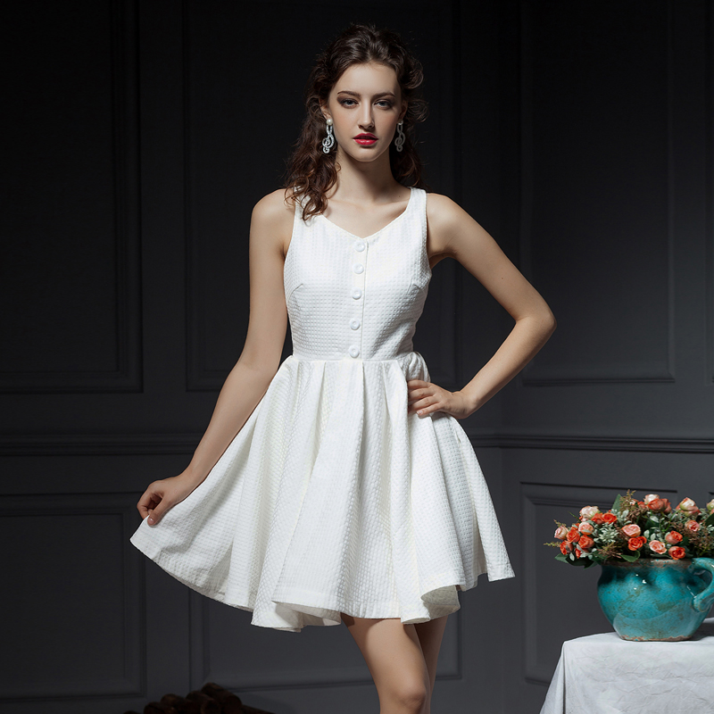 YIGELILA 2014 Summer New Europe and the major suit Pleated Dress super ice cream color  white fairy