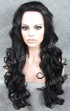 N5-1# New Arrival Jet Black Color Long  Body Wavy Texture Synthetic  Lace Front Wigs for Daily Life Wearing