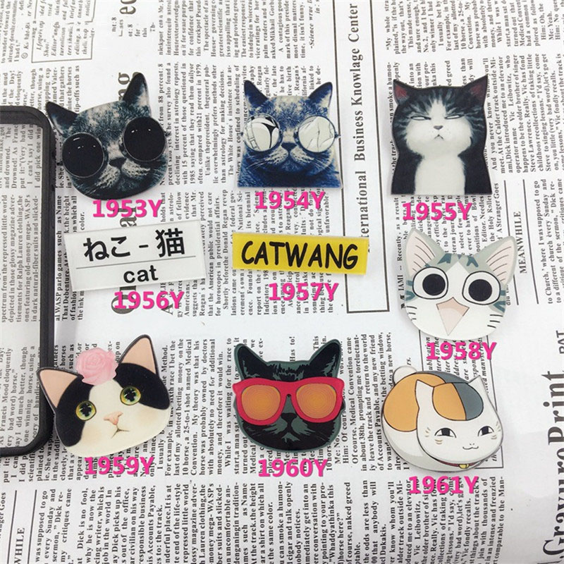 (MIN MIX ORDER $5)Acrylic Badge Broche HARAJUKU Brooch cat Accessory for Scarf Pin Up Women Bag Collar Tips Punk Jewelry ab196(China (Mainland))