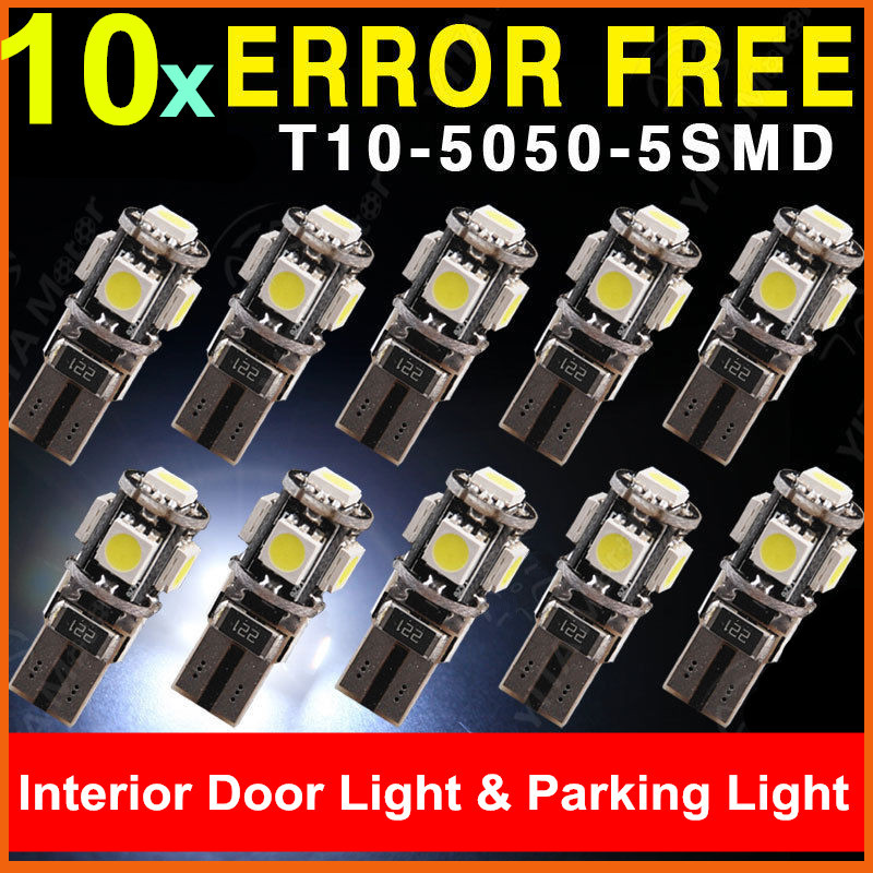 10pcs Super White T10 5050 SMD 5 LED Error Free Canbus W5W 194 168 2825 Car Lamp License Plate Light Bulbs Wholesale(China (Mainland))