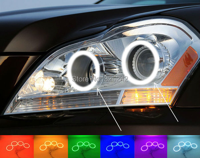 For Mercedes-Benz GL-Class X164 GL450 2007-2012 Excellent Angel Eyes kit Multi-Color Ultrabright RGB LED Angel Eyes Halo Rings(China (Mainland))