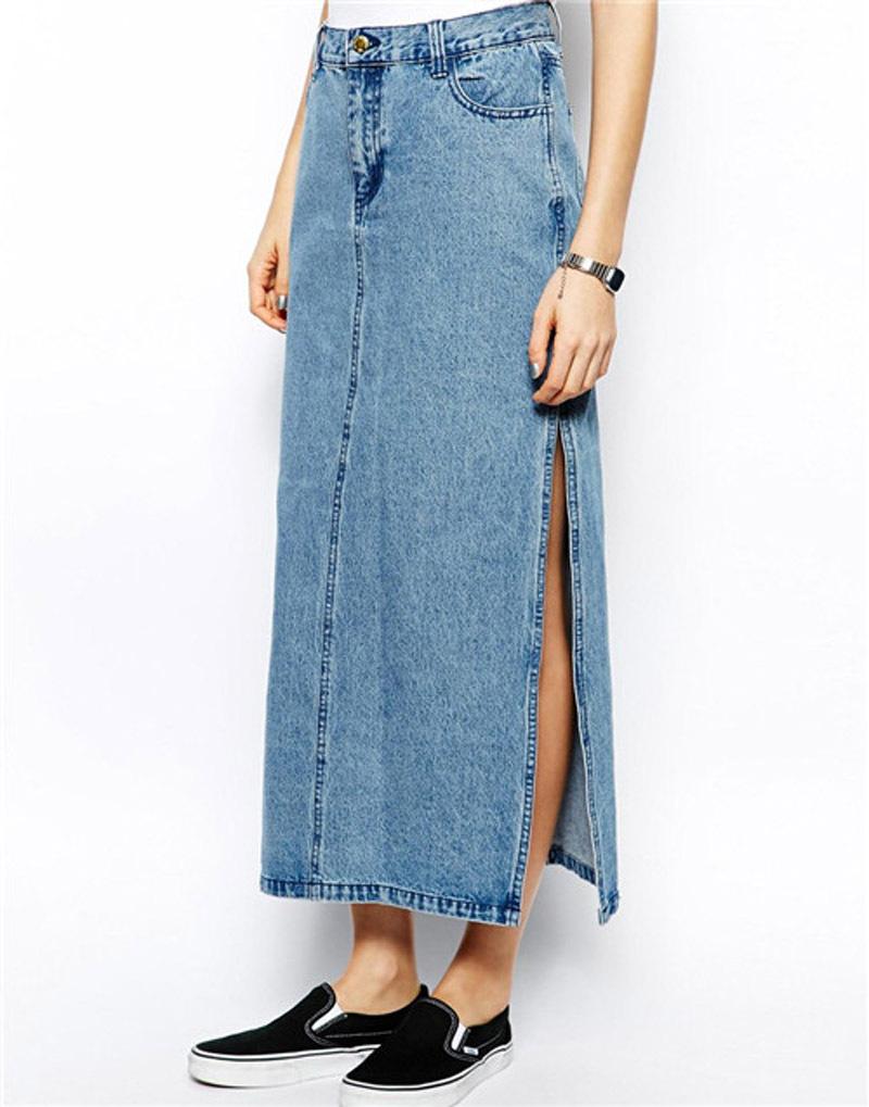 Long Pencil Denim Skirt