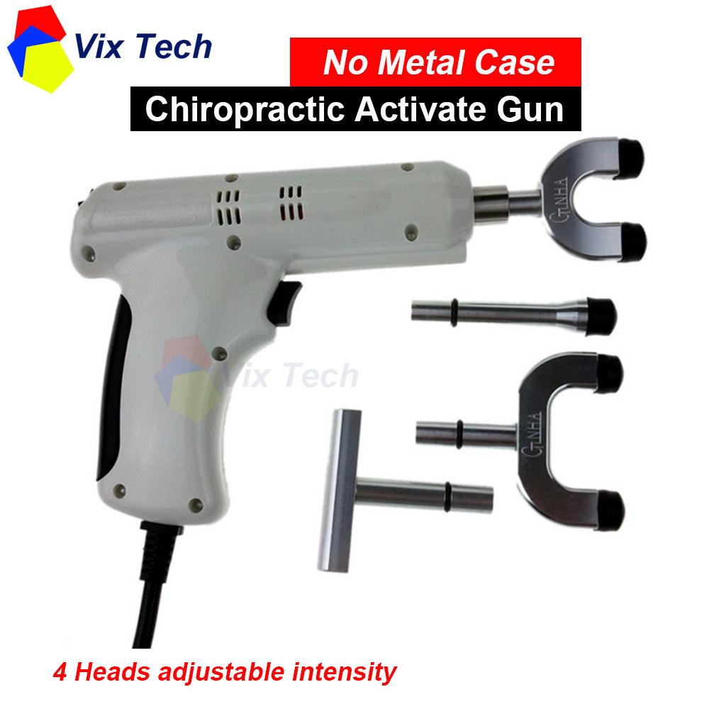 Spine Chiropractic Activator Gun / Adjusting Instrument Correction Massager impulse 4 Heads adjustable intensity (No metal case)(China (Mainland))