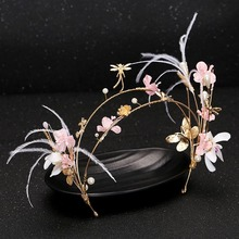 Buy fashion Bridal Tiara Hair Band Pink Pearl Golden Crown Flower Headbands Wedding Bride Flower Pearl Hair Accessories SL for $6.11 in AliExpress store