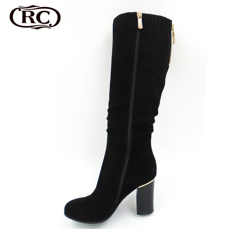 Nubuck Leather Black Fashion Sexy Women Boots 2015 New Winter Woman Thick Heel Botas High Quality Botas Femininas WX025(China (Mainland))