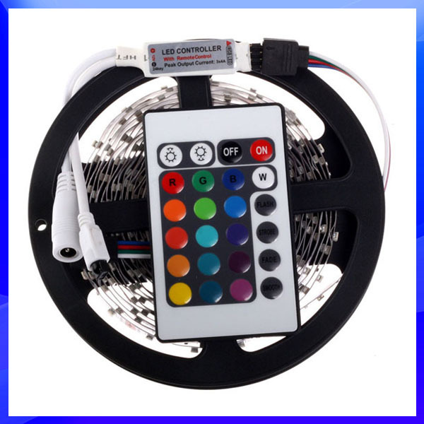RGB LED Strip 5M 300Led 3528 SMD + 24Key IR Remote Controller Flexible Led Light 12V Ribbon Home Decoration Lamps Free Shipping(China (Mainland))