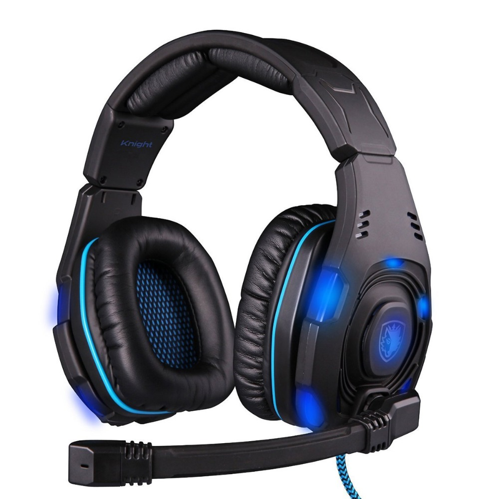 Фотография New SADES SA-907 USB 7.1 Surround Sound Effect Game Headset Headphone With Mic With Microphone LED Free Shipping