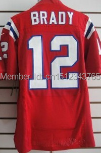 #12 Tom Brady red Jersey,Elite Football Jersey,Best quality,Authentic Jersey Stitched Logo Embroidery Sport Jersey(China (Mainland))