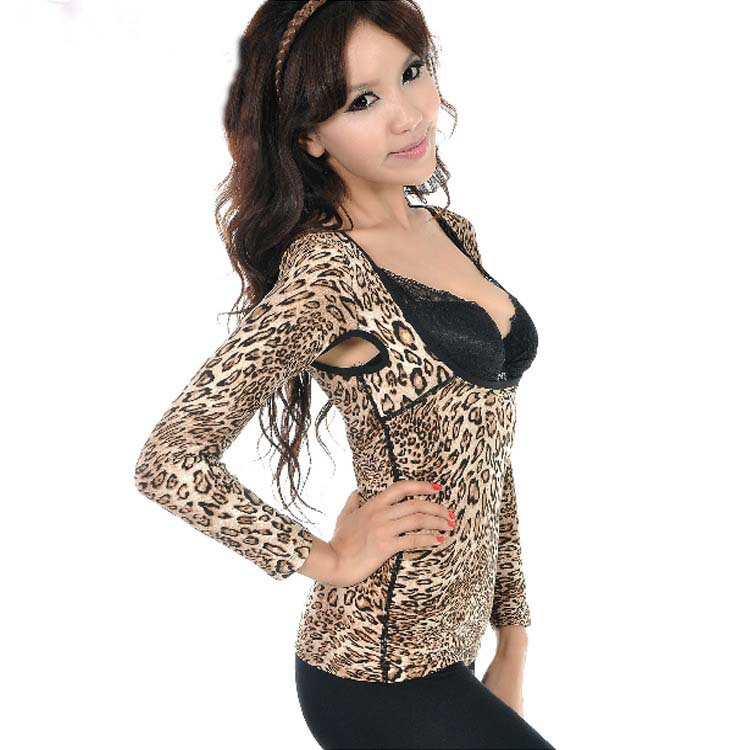 Ms. Wowen plus thick velvet thermal underwear U -shaped openings breast care sexy beauty fashion cheap leopard shirt(China (Mainland))