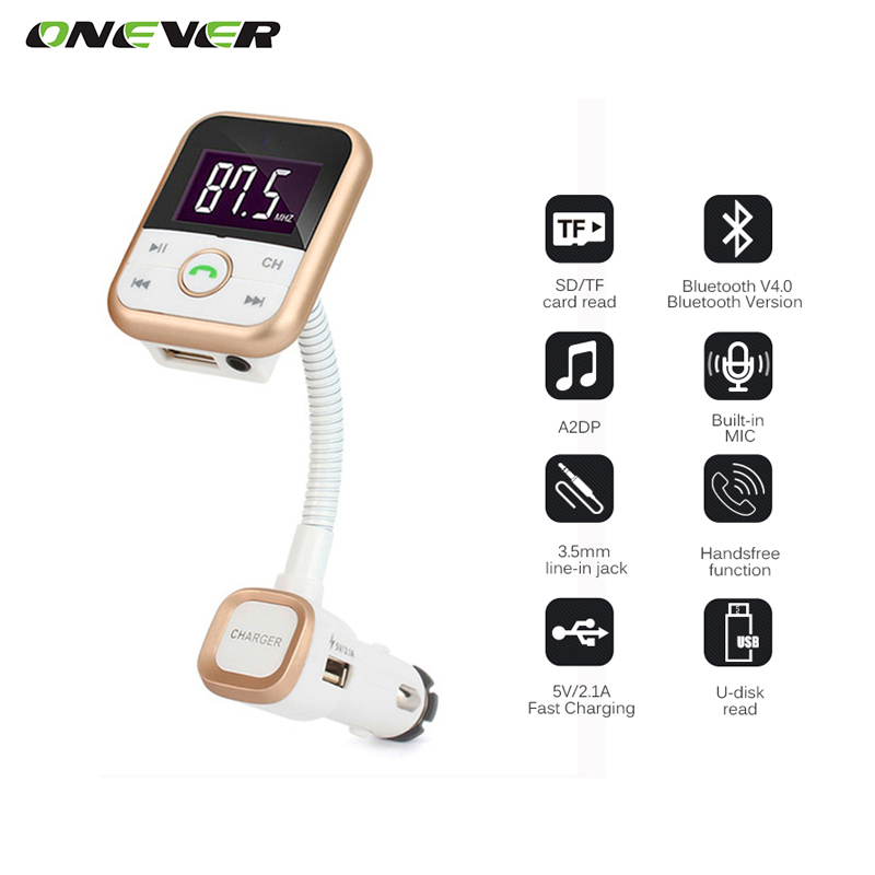 Onever Car Kit Wireless Bluetooth car FM Transmitter With USB Charger MP3 Player Support USB SD Card + 3.5mm line-in jack(China (Mainland))